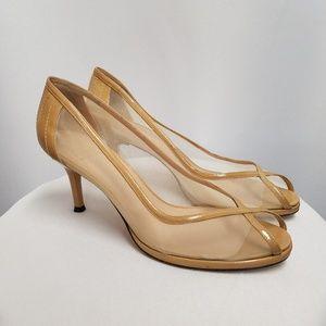 Stuart Weitzman Patent Tan Beige Pumps Heels 8.5